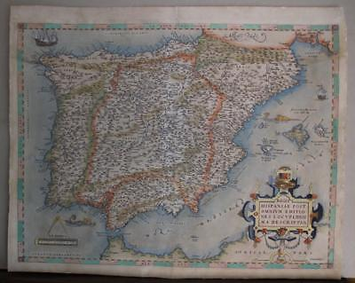 Spain Portugal Gibraltar 1571 Ortelius Unusual Antique Copper Engraved Map