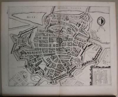 METZ FRANCE 1740ca MORTIER UNUSUAL ANTIQUE ORIGINAL COPPER ENGRAVED CITY VIEW