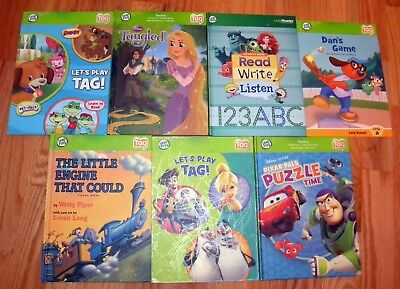 Lot  7 Leap Frog Tag Reader Interactive HC/SC books ONLY Tangled, Puzzle + L361