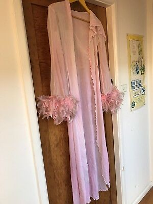 Vintage Sheer Pink Hooded Feather Cuff Boudoir Robe Pinup Rockabilly