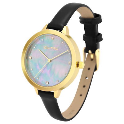 Dictac Ladies Watch with Full Grain Calf Leather Band and Mother of Pearl Face (