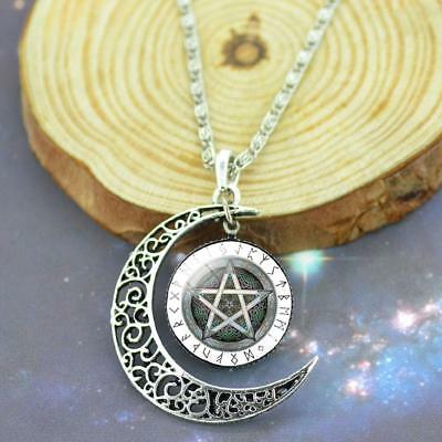 1pc Crystal Pentagram Crescent moon Pendant Silver Chain Necklace Newly