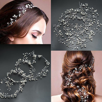 1x Wedding Hair Vine Bridal Crystal Pearl Headband Vintage Hair Accessories 35cm