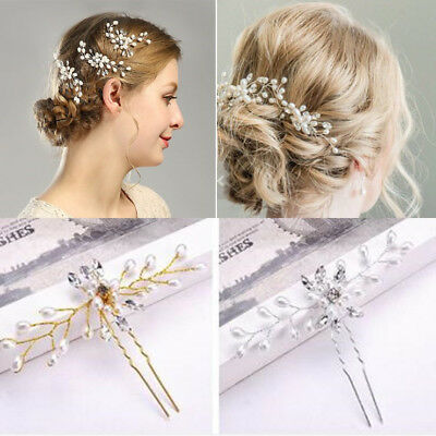 Vintage Wedding Party Prom Bridal Pearl Flower Crystal Hair Pins Clips Side Comb