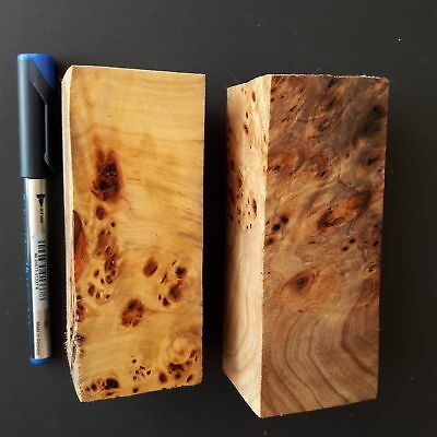 Burl Wood WOODen Poplar Block Blank Knife Knive Handle Scale Ecxlusive Crafts
