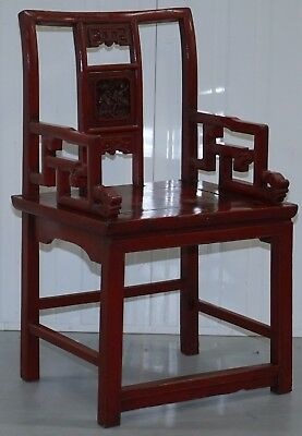 Antique 19Th Century Chinese Red Lacquered Chair Lotus Leaf & Birds Paintings