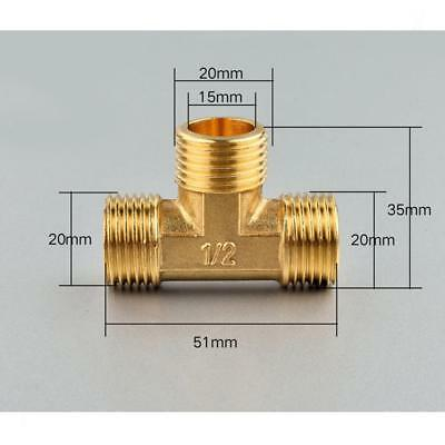 Anti-Burst Brass Tee Fitting Pipeline Connector Male 3 Way 1/2""
