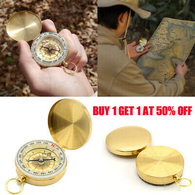 UK Noctilucent Hiking Camping Compass Tool Pocket Watch Style for Outdoor Brass