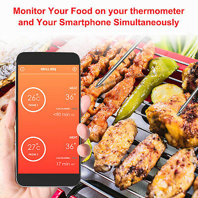 Funk Bluetooth Bratenthermometer Grillthermometer BBQ Fleisch-Thermometer APP EU