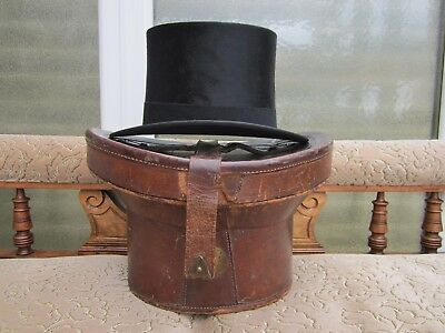 Angique Vintage Silk Dunn and Co Top Hat And Original Leather Fitted Case 418