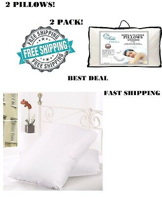 2 King Size Pillows Goose Down Feathers Bed Set Luxury Thread Count Cotton Gift