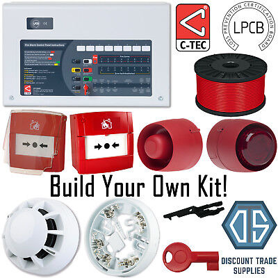 C-TEC Standard 2 4 8 Zone Fire Alarm Panel Custom Kit Detector Call Point KAC