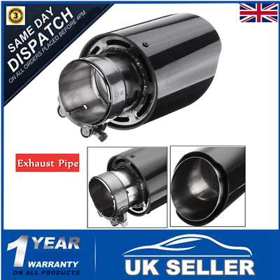 Universal 2.5'' 63mm Carbon Fiber Car Auto Exhaust Pipe Tail Muffler End Tip UK