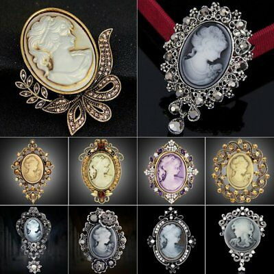 Vintage Jewelry Cameo Crystal Rhinestone Brooch Pin Flower Women Wedding Bridal