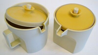 Tupperware Cream And Sugar Almond And Gold  1414 And 1415