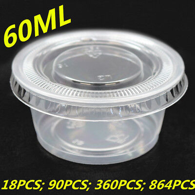 60ML Plastic Round Dipping Sauce Disposable Small Container Cups Lids Takeaway W