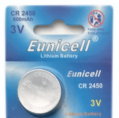 1x Long Lasting Eunicell CR2450 ECR2450 3v Lithium Button Cell Batteries