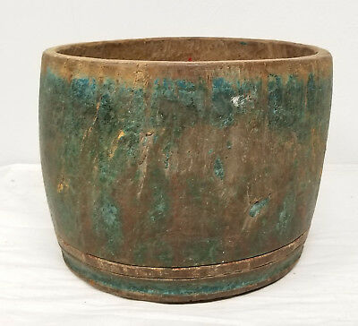 Antique Decorative Primitive Blue Green Turquoise Bowl Carved Wood Japanese