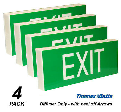 4 x Emergency Exit Light DIFFUSER ONLY Wall Mount Single Sided Peel off Arrows
