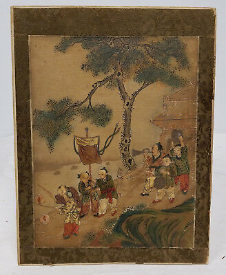 Antique Chinese Scroll Painting Unsigned SOtheby's Sticker Children Playing Silk