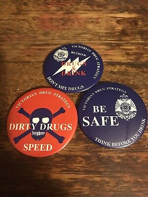 Victorian Drug Strategy Badges X 3
