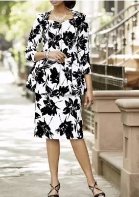 PLUS 24W Ashro Sammi WHITE BLACK ABSTRACT FLORAL SKIRT SUIT church career formal