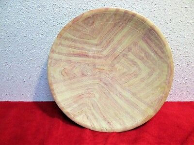 "Handmade African Soapstone Plate Kenya 10"" Pastel Colors Etched Collectible"