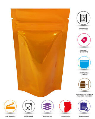 Orange Shiny Stand Up Pouches Heat Seal Foil Zip Lock Bag Grade Myler Bag