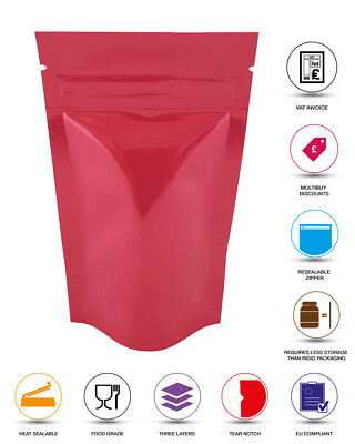 Pink Shiny Stand Up Pouches Heat Seal Foil Zip Lock Bag Grade Myler Bag