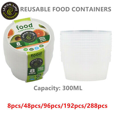 300ML ROUND TAKE AWAY CONTAINERS with LIDS DISPOSABLE PLASTIC FOOD CONTAINER WM