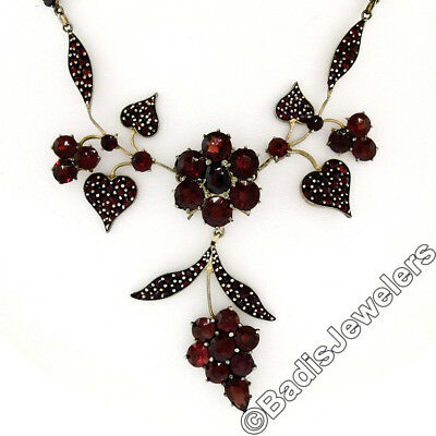 Vintage Gold Plated Gilt Silver Bohemian Garnet Grape Cluster Collar Necklace