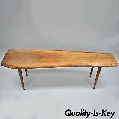 Walnut Slab Free Form Live Edge Surfboard Coffee Table Mid Century Modern 60""