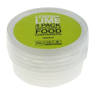 1000ML ROUND TAKE AWAY CONTAINERS with LIDS DISPOSABLE PLASTIC FOOD CONTAINER
