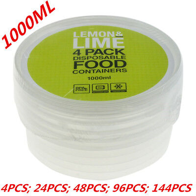 1000ML ROUND TAKE AWAY CONTAINERS with LIDS DISPOSABLE PLASTIC FOOD CONTAINER WM