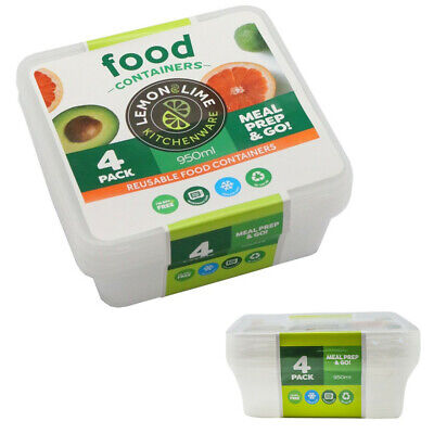 950ML SQUARE TAKEAWAY CONTAINERS w LIDS DISPOSABLE PLASTIC FOOD CONTAINER 950ml