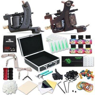 Complete Tattoo Kit 2pc Coil Tattoo Machine Guns Color Immortal Ink Power Supply