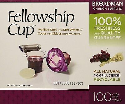 Fellowship Cup Box of 100 - Pre-filled Communion Bread & Cup