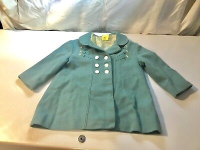Vtg Cute Kiddies Size 2 Embroidered Double Breasted 100% Wool Coat Shell Buttons