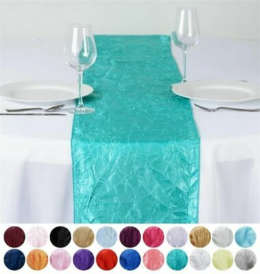 """12"""" x 108"""" Taffeta Crinkle TABLE TOP RUNNER Linens Wedding Party Decorations"""