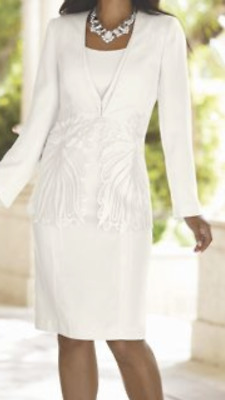 PLUS 16W WHITE BEADED EMBROIDERED SUIT Midnight Velvet Lily Formal Jacket Dress