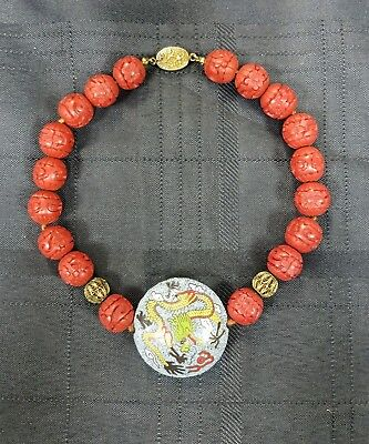Vintage Chinese Red Cinnabar Bead Necklace w Silver Clasp
