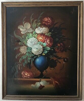 Large 19th/20th Century Still Life of Flowers in Blue Vase, Oil on Canvas/Board