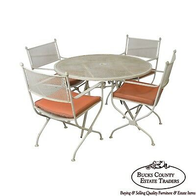 Salterini Mid-Century Expanded Metal Wrought Iron Round Patio Table & 4 Chairs