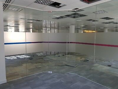 5.41 Metre Wide Single Office Glass Partition System With A Glass Door For £550