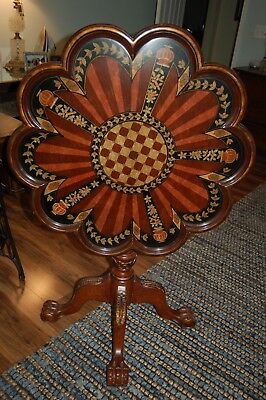 "Tilt Top Table w Scalloped Edges and Hand Painted Inlay 29"" Diam LOCAL PU ONLY"