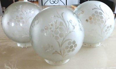 3 Matching Vintage Frosted Glass Etched Grape Ball Shaped Lamp Shades