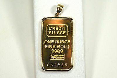 999.9 Fine Gold Credit Suisse 1 Ounce Bar in 14k Case Pendant