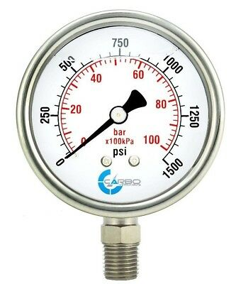 "2-1/2"" Pressure Gauge, Stainless Steel Case, Liquid Filled, Lower Mnt 1500 PSI"