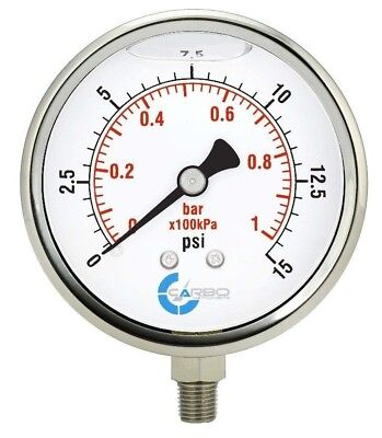 "4"" Pressure Gauge, Stainless Steel Case, Liquid Filled, Lower Mnt 15 PSI"