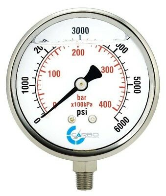 "4"" Pressure Gauge, Stainless Steel Case, Liquid Filled, Lower Mnt 6000 PSI"